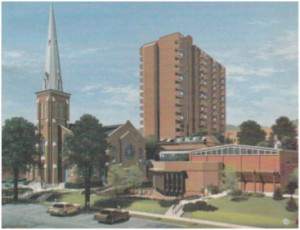 An artist's rendering of the church and Collier Place after the 1986 renovations
